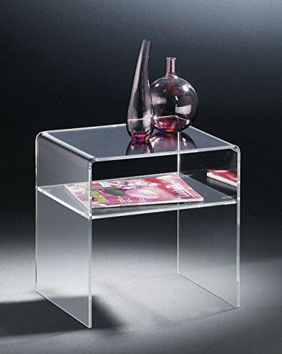HOWE-Deko Hochwertiger Acryl-Glas Beistelltisch/Nachttisch/Endtisch, klar, 40 x 33 cm, H 35 cm, Acryl-Glas-Stärke 6 mm