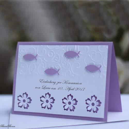 8 personalisierte Einladungskarten Einladung Kommunion Konfirmation Firmung flieder Mädchen Handarbeit binnbonn