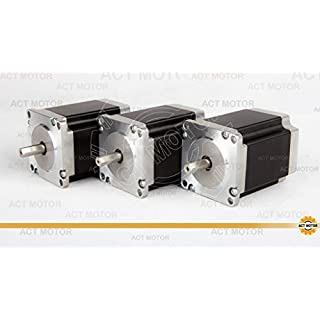 ACT Motor GmbH Nema23 3PCS 23HS8430D8P1-5 76mm 3A 1.9 Nm Single Flat Shaft Ø 8mm Carver Machine Scanner Automation 3D-Printer
