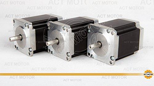 ACT Motor GmbH 3PCS Nema23 Schrittmotor 23HS8430D8P1-5 Stepper Motor 76mm 3.0A 1,9Nm mit Single Flat Shaft (D-Shaft) Flat Motor