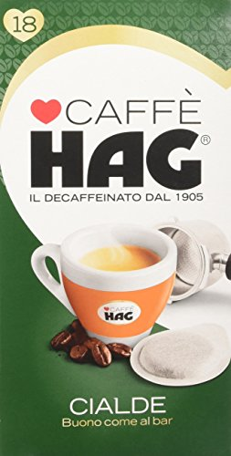 18 Cialde Monodose Espresso Decaffeinato Caffe' Hag Filtro Carta 44 mm