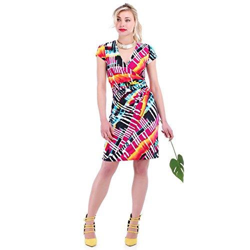 La Modeuse - Robe effet cache-coeur à imprimé Encolure en V et drapé à la taille Multicolore