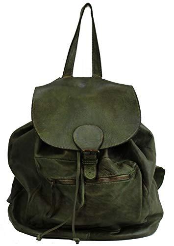 BZNA Bag Kaya Verde Grün Backpacker Designer Rucksack Damenhandtasche Schultertasche Leder Italy Neu