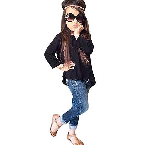 OverDose,1 Set Bambin BéBé Des Gamins Filles Tenue VêTements Manche Longue T-Shirt Hauts + Pantalons Jeans