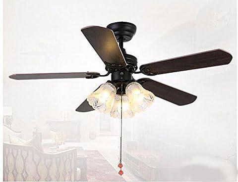 Fgsgz Ventilateur de plafond en bois feuille de style américain des avantages et inconvénients de la lumière et rendez-vous salle d'étude chambre à coucher (diamètre 80cm) contrôle à distance