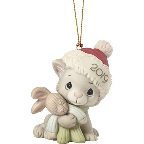 Precious Moments Kitty Cuddles 2019 Dated Bisque Porcelain Cat Christmas Ornament 191007 Dekor, Porzellan, Mehrfarbig, One Size