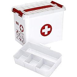 Sunware Q-Line Boîte de Premier Secours + Insert-9L-300x 200x 220mm-Blanc