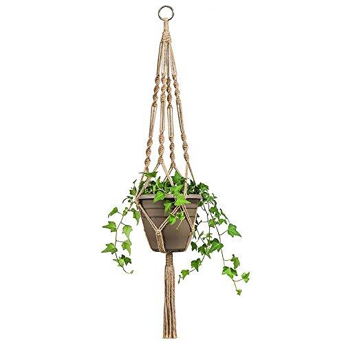AZX Hanf Seil Kleiderbügel 4stabile Bein Pflanzgefäß Blumenampel Makramee geflochten Seil zum Aufhängen Blumentopfhalter für Haus Garten Balkon