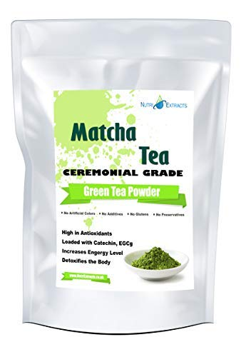 NutriExtacts Matcha Green Tea Powder Ceremonial Grade 100g Detox Tea Smoothies Antioxidant Metabolism Booster Vegan and Vegetarian