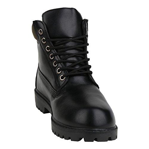 napoli-fashion Damen Herren Schuhe Kinder Schuhe Stiefeletten Worker Boots Outdoorschuhe Schnürstiefel VanHill Schwarz All