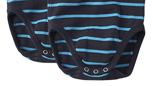 wellyou Conjunto de 2 Bodys Mangas Cortas para beb/és//ni/ños Color Azul Turquesa con Rayas Blancas.Tallas 104-134