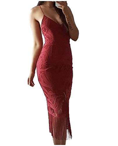 Miugee Women's Sexy Strap Tassel Lace Backless V Neck Party Evening Dress Medium Red