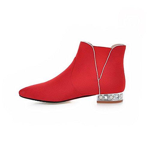 VogueZone009 Damen Nubukleder Spitz Zehe Blockabsatz Niedriger Absatz Stiefel Rot