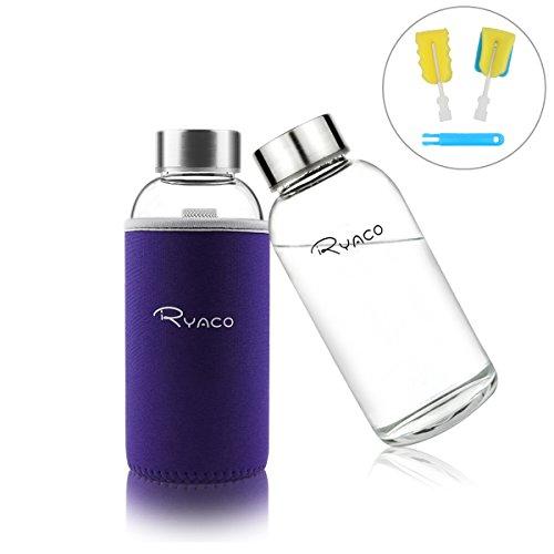 RYACO Glasflasche Trinkflasche Classic Tragbare 360ml BPA-frei für unterwegs Sportflasche Glas Wasserflasche zum Mitnehmen von kalten Getränken mit Neopren Tasche und Schwammbürste (Lila, 360ml)