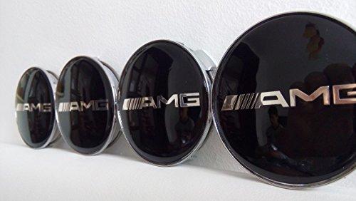 Lot de 4 MERCEDES-BENZ AMG Noir - Centre de roue en alliage Hub de taille 75 mm
