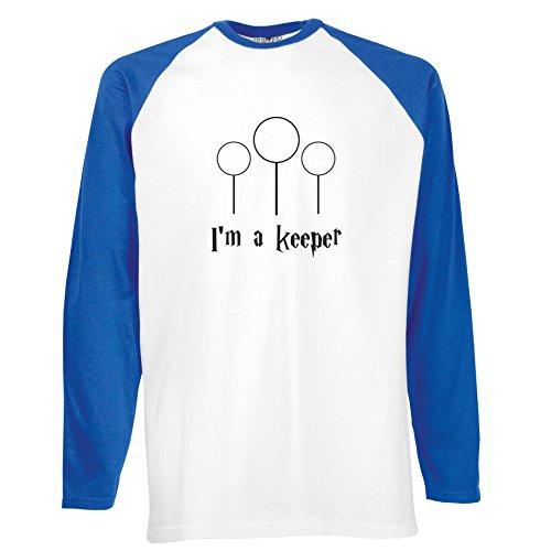 Brand88 - I'm A Keeper, Langarm Baseball T-Shirt Weiss & Blau