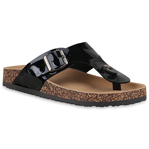 Stiefelparadies Damen Schuhe Komfort Sandalen Zehentrenner Lack Hausschuhe Kork-Optik 158103 Schwarz 38 Flandell