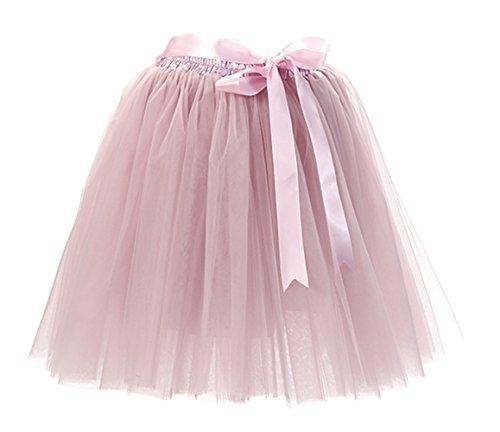 Honeystore Damen's Rock Tutu Tütü Petticoat Tüllrock 7 Schichten mit Gummizug für Karneval, Party und Hochzeit Grau Rosa One Size