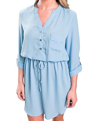 Femme Elégante Tunique en vrac Casual Robes Bleu clair