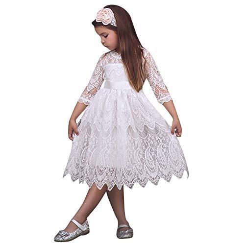der, Kleinkind Kinder 3/4 Hülse Bogen-Knoten Spitze Blume Tüll Einfarbig Party Pageant Kleidung Abend Tragen(Weiß,120) ()