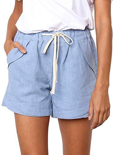 Shorts Damen Sommer Kurze Hosen Tunnelzug Elastische Stoffhose Solide Baumwolle Leinen Strand Shorts mit Taschen (Hellblau, X-Large) -
