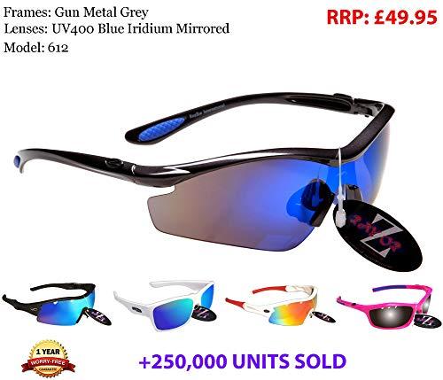 Rayzor Professionelle Leichte UV400 Gun Metall Grau Sports Wrap Laufen Sonnenbrille, mit einem blauen Iridium Mirrored Blend Lens.