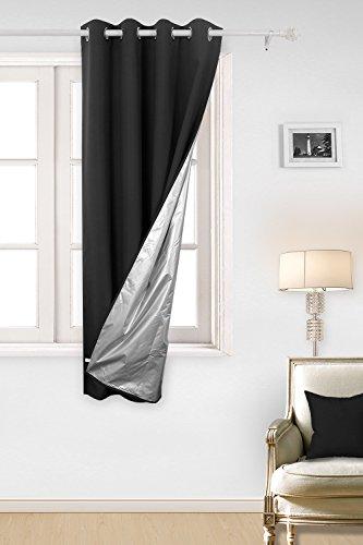 Deconovo tende termiche isolanti in tessuto oxford con rivestimento tende per casa moderna 100% poliestere 140x180 cm nero un pannello