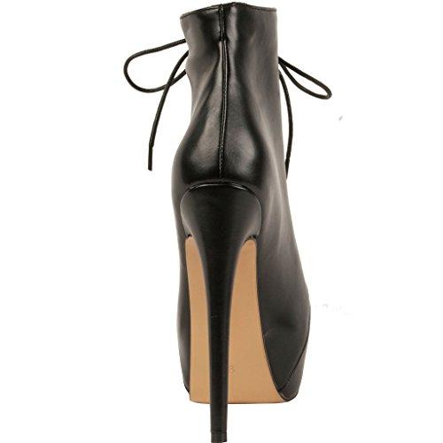 Calaier Femme Caclub 2016 Designer Luxe Plateforme Élégante Round Toe Super High Heel 15CM Aiguille Lacer Bottes Noir