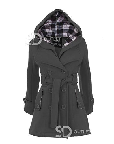 SD da donna con passaggio per cintura pulsante appendiabiti felpa con cappuccio da donna tinta unita con cappuccio giacche cappotti 8-14 Charcoal