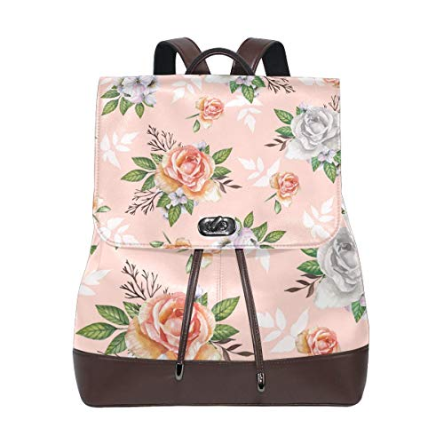 Flyup Pink Pattern with Watercolor Roses PU Leather Backpack Photo Custom Shoulder Bag School College Book Bag Casual Daypacks Diaper Bag for Women and Girl Frauen Leder Rucksack -