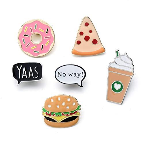 6 pezzi set di spilla pins fast food donut pizza burger caffè lapel spilletta
