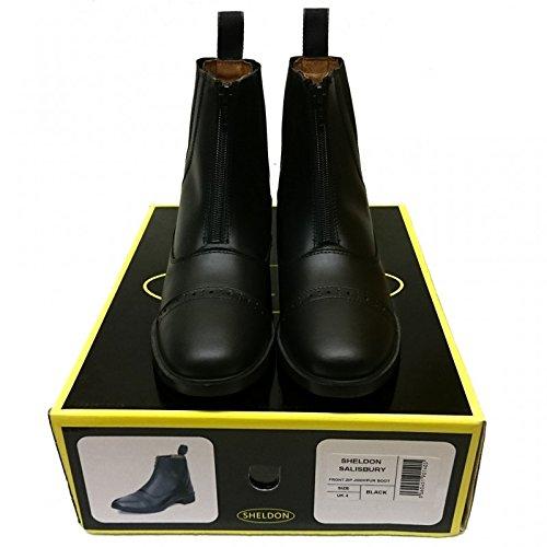 Sailsbury Bottes en cuir fermeture éclair avant Moto Jodhpur d'équitation Bottes Marron/noir noir - Noir