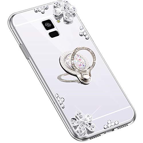 Uposao Kompatibel mit Samsung Galaxy A6 2018 Hülle Glitzer Diamant Glänzend Strass Spiegel Mirror Handyhülle mit Handy Ring Ständer Schutzhülle Transparent TPU Silikon Hülle Tasche,Silber
