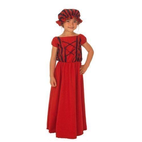 Mädchen Rot/Schwarz Viktorianisch Armer Bauer Dienstmagd Mädchen Kostüm Kleid Outfit - Rot/schwarz, Rot/schwarz, 10-12 years (Mädchen Kleid Bauer Kostüme)