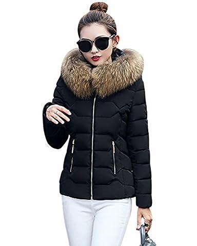 Weatherproof Puffer Quilted Jacket Short Winter Warm Zip Coat With Faux Fur Trim Hood for Women Black