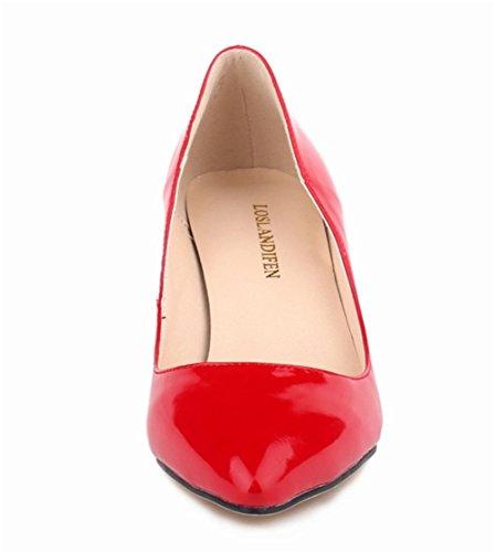 Wealsex Escarpins Vernis PU Cuir Talon Aiguille Bout Pointu Talons Moyen 6 CM Style OL Classique Femme Rouge
