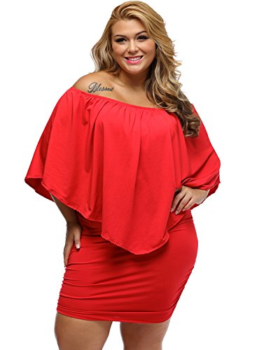 Azbro Plus Size Multiple Dressing Layered Blue Mini Dress red