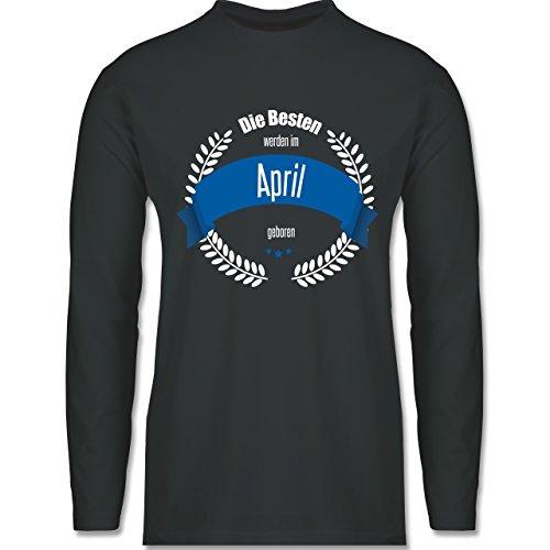 Geburtstag - Die Besten werden im April geboren - Longsleeve / langärmeliges T-Shirt für Herren Anthrazit