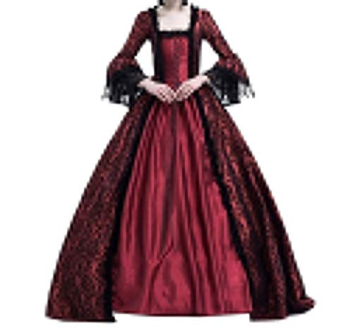 Damen Kleider Luxuriös Rüschen Schnüren Aufflackern Hülsen Karneval Kostüm Frauen Gothic Palast Königin Vampir Cosplay Kostüme XL Weinrot