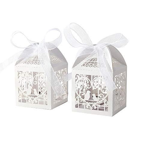 Benbilry 50 Stück Gastgeschenke Hochzeit Süßigkeiten Kasten Vogel Muster Schachtel Hochzeit Taufe Geschenkbox Kartonage Tischdeko Hochzeit Dekoration Weiß