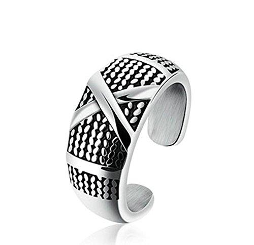Jasmineees Schmuck Herren Ring,Klassiker Einfach X Muster Retro Biker Punk Gotik Edelstahl Ring für Herren Männer Ring Silber Schwarz Größe (Muster Einfache Kostüm Elf)