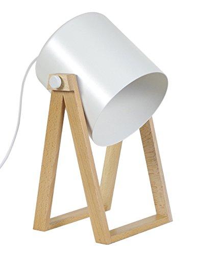 Tosel 90237 Lampe Spot 1 Lumière, Bois, E27, 40 W, Blanc, 16 x 30 cm