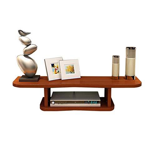 Set Top Box Regal TV-Wandrahmen Router Montieren Lager Reines Massivholz, 4 Farben (80 * 22 * 18cm) (Farbe : Teak) -