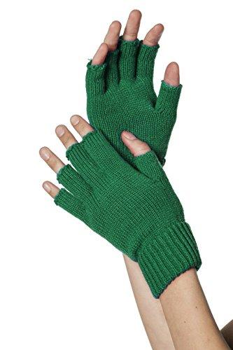 Jannes 51040 Deluxe fingerlose Strickhandschuhe (Grüne Kostüme Handschuhe)