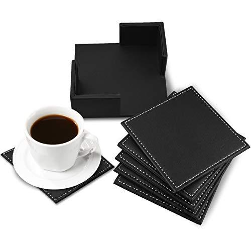 Zubita Untersetzer, Hochwertig Lederuntersetzer 6 in 1 Quadratische Rutschfeste Untersetzer zum Schutz aller Arten von Tischen Marmortischen Glastisch Holztisch usw.