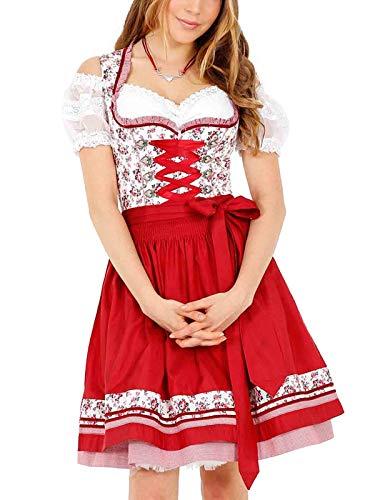 Krüger Damen Trachten Dirndl kurz, Modell: Silvana, über Knie, rot, weiß, Art.-Nr. 46315-9, 36