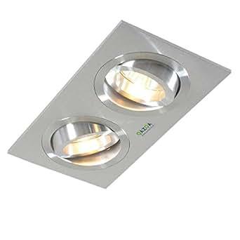 QAZQA Design / Moderne / Spot à encastrer / encastrables Lock 2 aluminium Rectangulaire Compatible pour LED GU10 Max. 2 x 50 Watt / Lampe de lecture