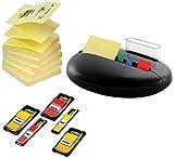 3M PBL100-P Distributeur de marque-pages et post-it Stone Promotion avec 6 recharges de post-it de 4 x 50 mm et bande adhésives de 4 x 35 mm (Noir)