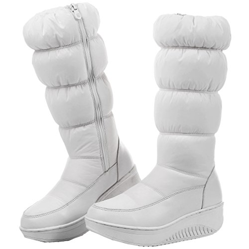 ENMAYER Femmes Chers Décontracté Salve Tep Programme Wedge Talon Winter Snow Bottes Avec Zip Blanc