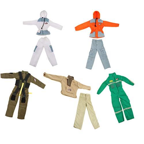 Fenteer 5 Sets Puppenbekleidung Militär Feuerwehr Mann Kostüm Anzug Für 28-30cm Soldat Puppe
